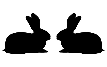 coney: two bunny silhouette on a white background vector illustration
