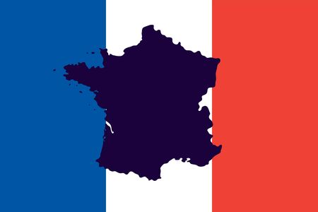 geographical: Official national flag of France and the countrys geographical map