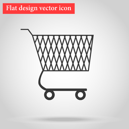 dolly bag: Shopping cart for goods in the shop flat design icon with shadow