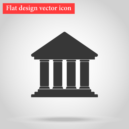 Icon Bank building flat design with shadow. vector illustration