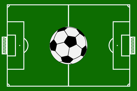 Template realistic football field with lines and gates with a soccer ball. vector illustration Illustration