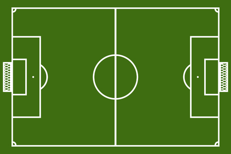 Template realistic football field with lines and gates. vector illustration Illustration