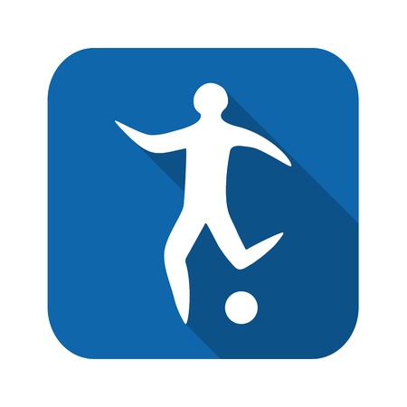 Sportsman man soccer player with ball silhouette flat icon Illustration