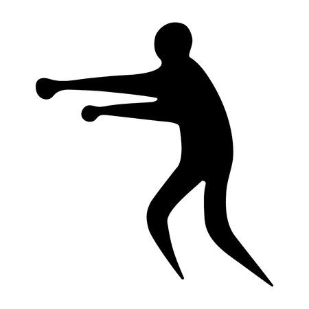 Sportsman man boxer on a white background flat icon Illustration
