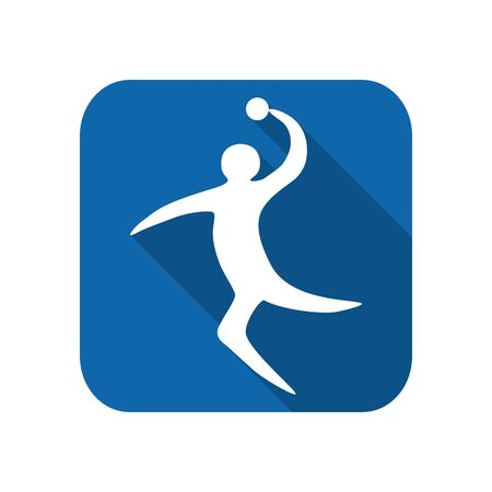 Sportsman man handball player with ball silhouette on a white background flat icon