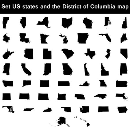 district of columbia: vector illustration vector illustration set of US states maps Illustration