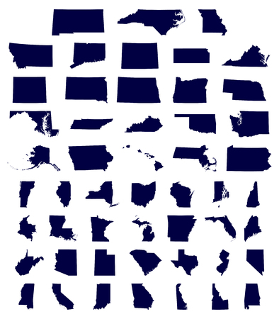 district of columbia: set of US states maps vector illustration