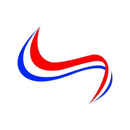 Satinband im Stil der Französisch-Flagge auf einem weißen Hintergrund