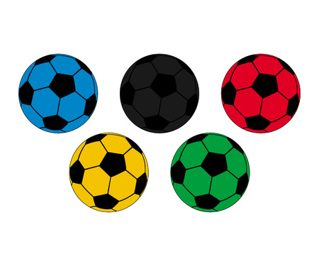 Five colored footballs on a white background vector illustration