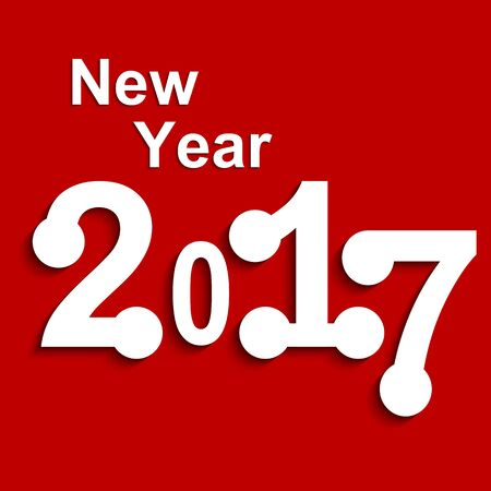 Paper symbols with shadow on a red background. New Year 2017. Vector illustration Illustration