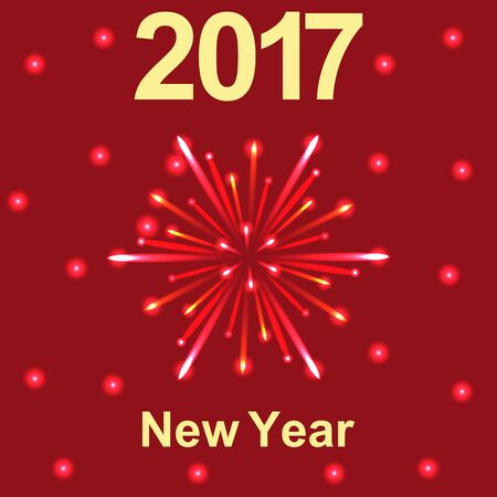 Happy New Year 2017 text and fireworks vector Illustration