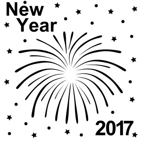 Happy New Year 2017 text and fireworks silhouette on a white background Illustration