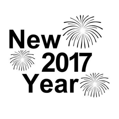 text year: Happy New Year 2017 text and fireworks silhouette on a white background Illustration