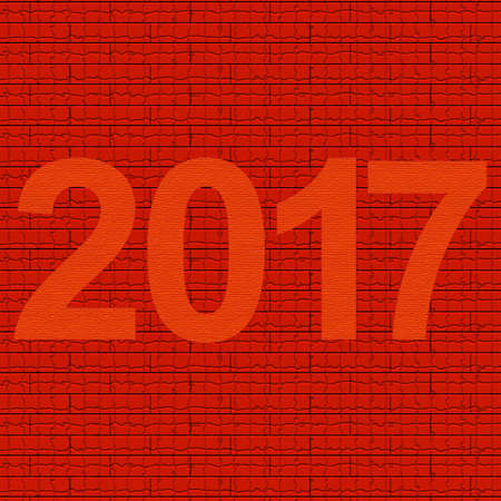 New Year on red background stone texture 2017
