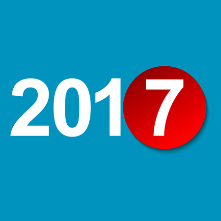 New 2017 with a tear-off red round sheet of paper on a blue background Illustration