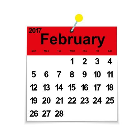 Leaf calendar 2017 with the month of February days of the week and dates