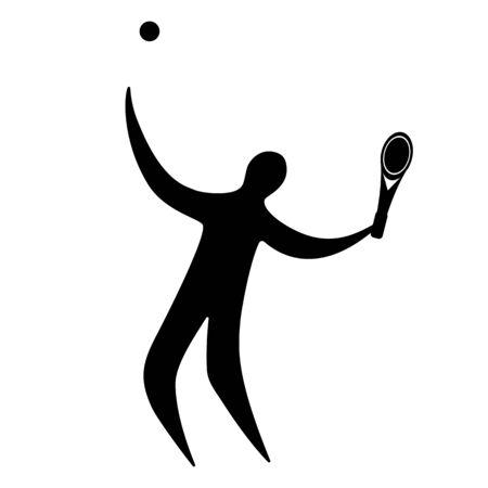 Champion athlete playing tennis. Illustration