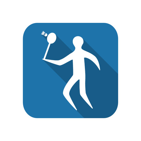 Athlete icon flat silhouette on a white background playing badminton.
