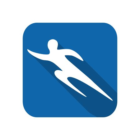 Sportsman man runner silhouette on a white background flat icon.