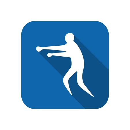Sportsman man boxer on a white background flat icon. Illustration