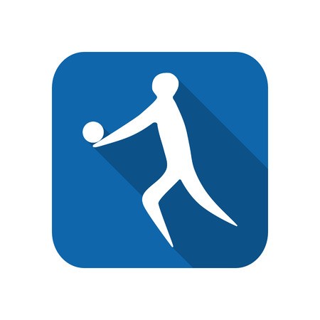 Athlete man volleyball player silhouette on a white background. Flat icon.
