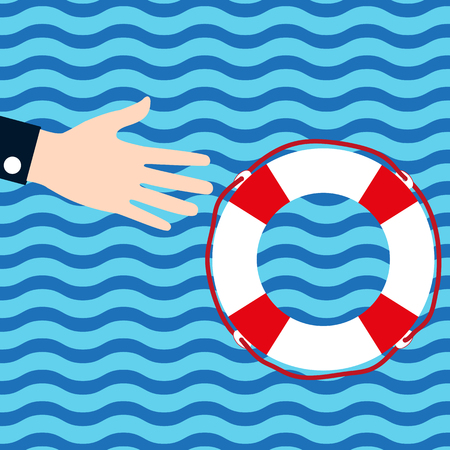 Businessman holds out his hand for help to the lifebuoy in the water during the crisis. Flat icon. Illustration