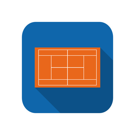 Template realistic tennis court with lines . Flat design.