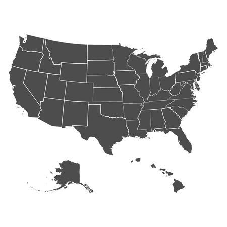 Set van staten van de VS in de kaart van Amerika op een witte achtergrond