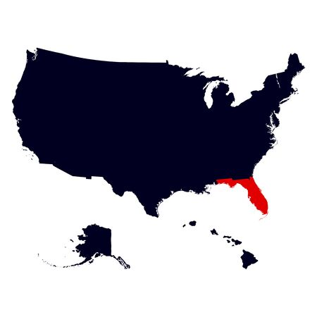 florida state: Florida State in the United States map vector Illustration