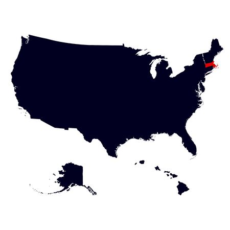 rad: Massachusetts State in the United States map vector Illustration