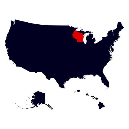 wisconsin state: Wisconsin State in the United States map vector