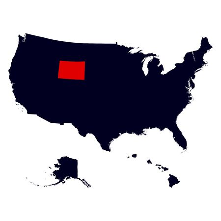 cheyenne: Wyoming State in the United States map vector