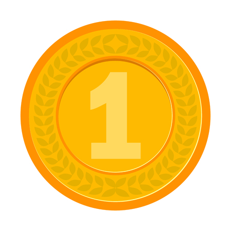 cent: Gold Medal for the champion in the first place. Flat icon, vector illustration