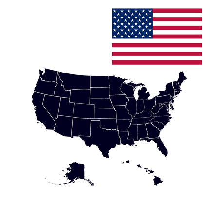 Set of US states in the map of America on a white background. Contours of American states metered line on the US map