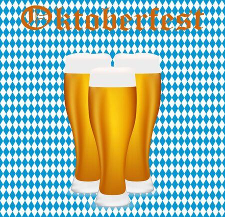 bavarian: Beer at Oktoberfest in the Bavarian background seamless background Illustration