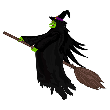 harridan: Scary witch witch flying on a broom on Halloween vector Illustration