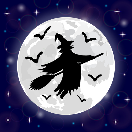 harridan: Silhouettes of witches and bats on a background of the moon