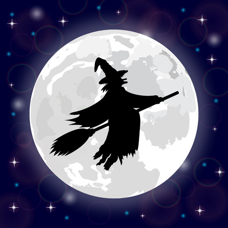 ghastly: Silhouette of a witch on a background of the full moon
