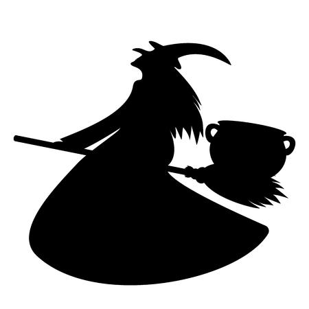 ハロウィーンのための彼女のほうきで魔女鍋運ポーション  イラスト・ベクター素材