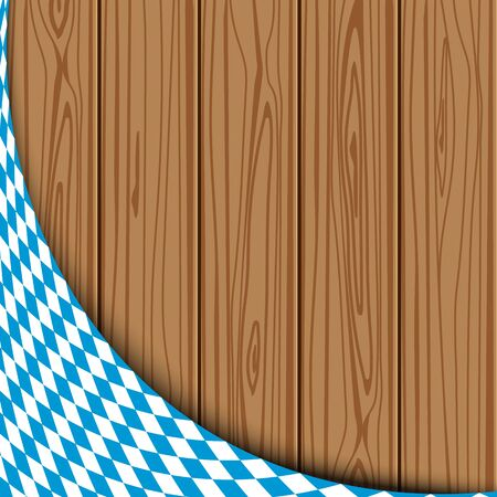 wiesn: Texture of the Bavarian flag on the background of the wooden planks. banner advertising for the Oktoberfest celebration Illustration