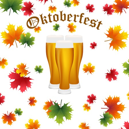 condense: Festival Oktoberfest in the fall and beer glasses in maple leaves