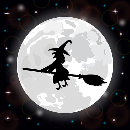harridan: Silhouette of a witch on a background of the full moon