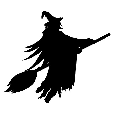 hex: Scary witch witch flying on a broom on Halloween