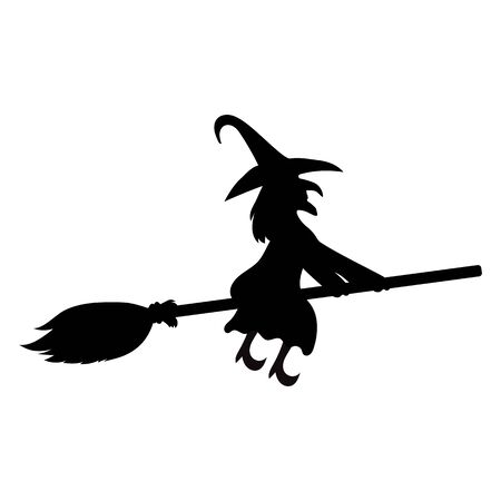 Scary witch witch flying on a broom on Halloween