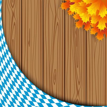 Texture of the Bavarian flag on the background of the wooden planks. banner advertising for the Oktoberfest celebration Illustration