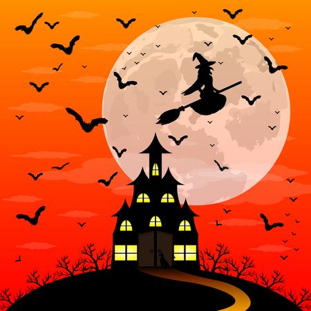 ハロウィーンのパティ。城の近くの森で魔女を飛んでいるコウモリと魔女