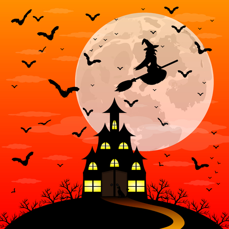 patti: Halloween patty. Witch and bats are flying witch in the woods near the castle