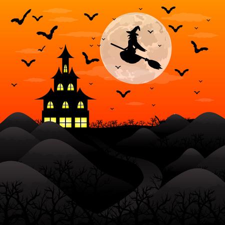할로윈 패티. 마녀와 박쥐 성 근처 숲에서 마녀를 날고있다. 일러스트