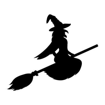Witch silhouette on a white background. ghost woman vector illustration