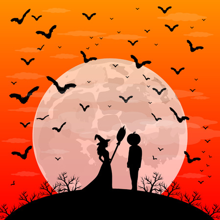 melodies: Beautiful melodies witch with a broom and a man with the head of a pumpkin on Halloween sunset patty. night landscape with moon vector illustration